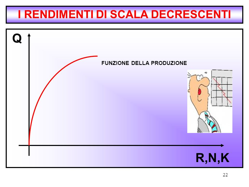 I RENDIMENTI DI SCALA DECRESCENTI FUNZIONE DELLA PRODUZIONE