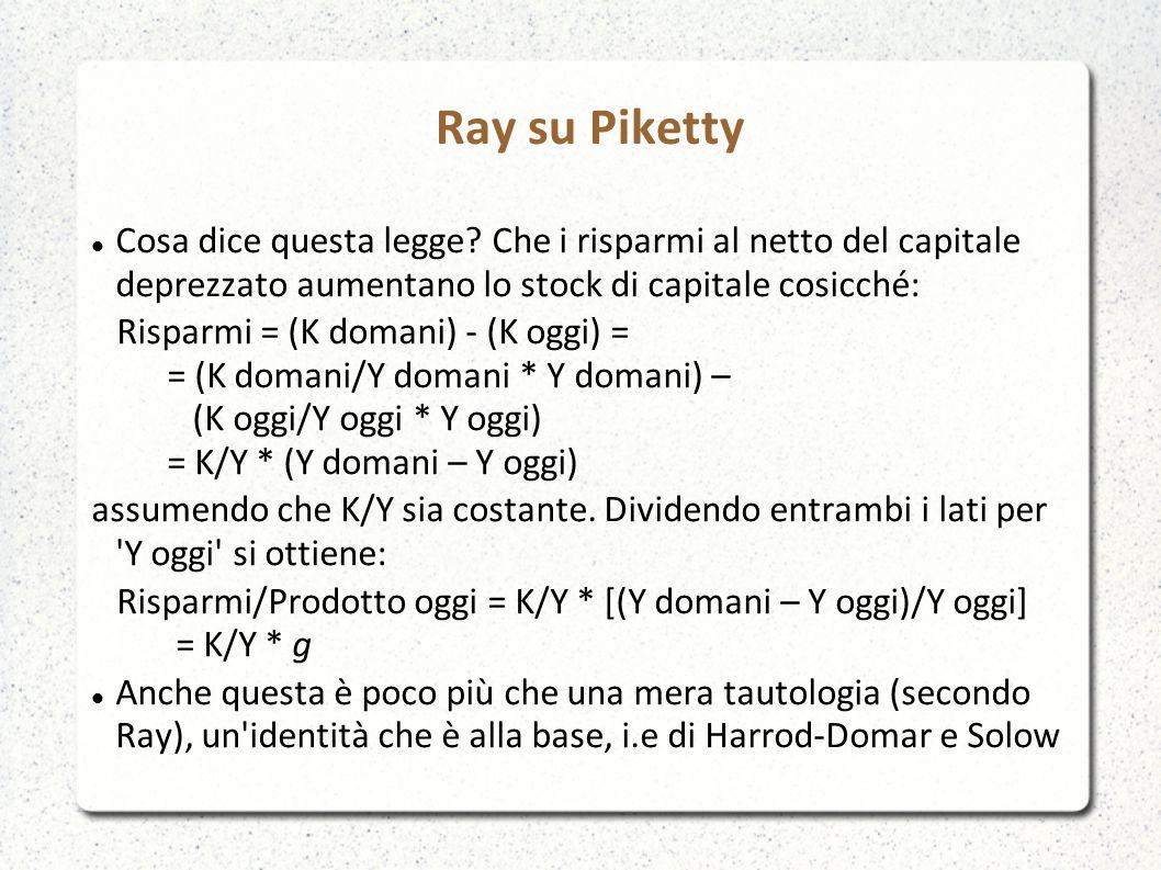 Ray su Piketty Cosa dice questa legge Che i risparmi al netto del capitale deprezzato aumentano lo stock di capitale cosicché: