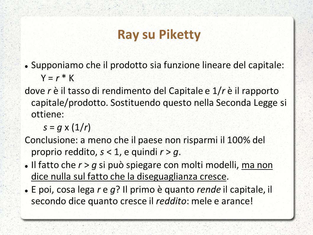 Ray su Piketty Supponiamo che il prodotto sia funzione lineare del capitale: Y = r * K.