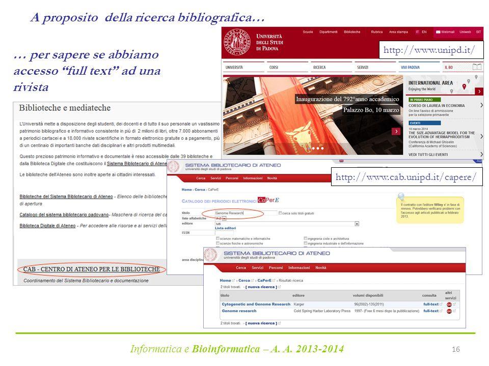 A proposito della ricerca bibliografica…