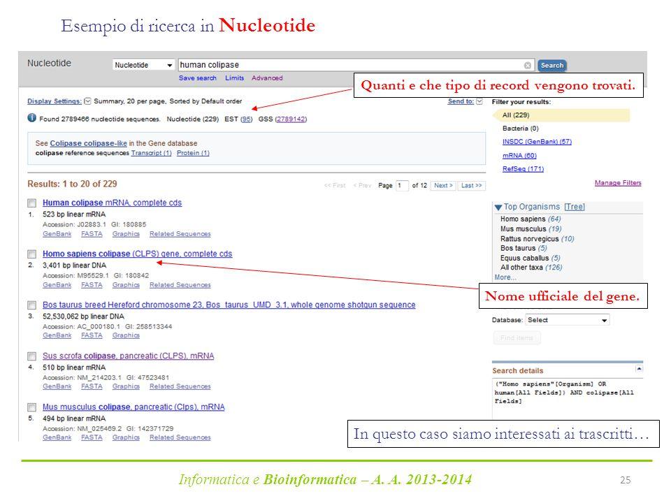 Esempio di ricerca in Nucleotide