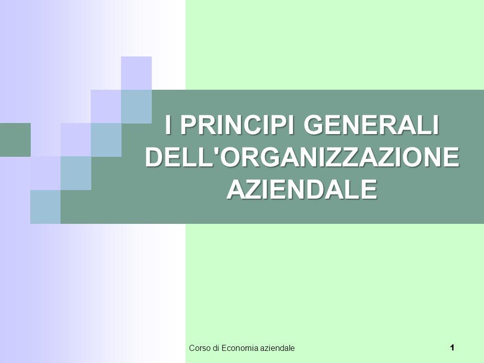 I PRINCIPI GENERALI DELL ORGANIZZAZIONE AZIENDALE