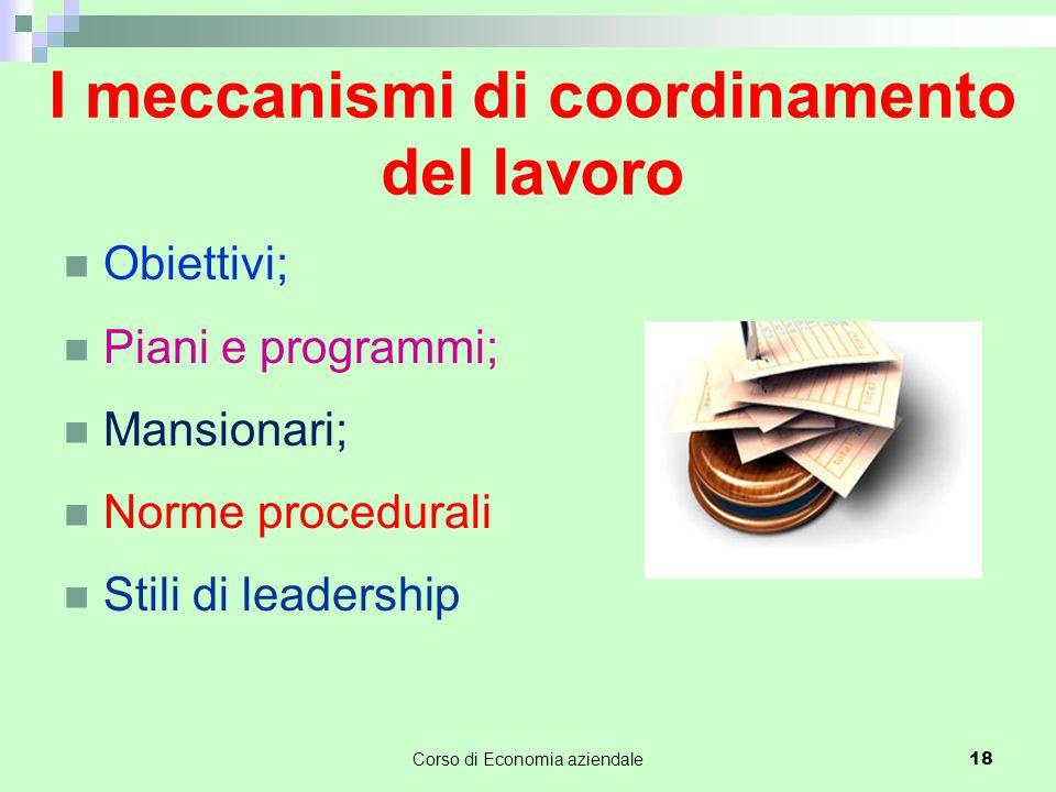 I meccanismi di coordinamento del lavoro