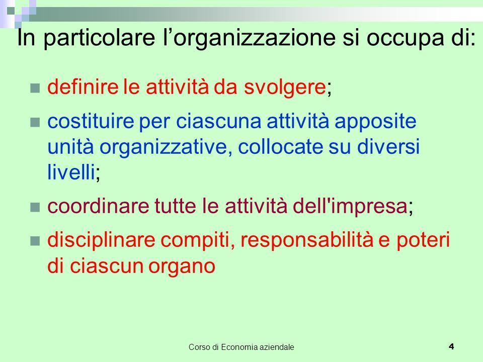 In particolare l'organizzazione si occupa di: