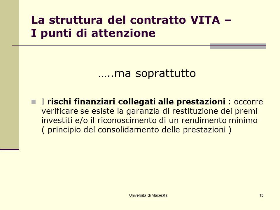 La struttura del contratto VITA – I punti di attenzione