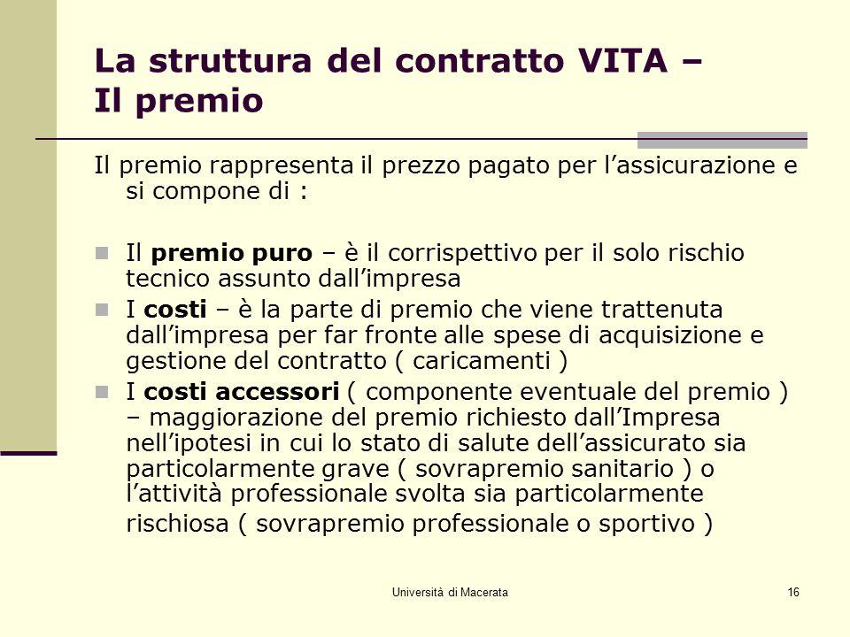 La struttura del contratto VITA – Il premio