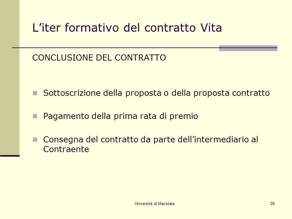 L'iter formativo del contratto Vita