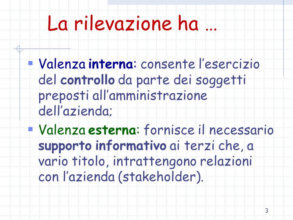 La rilevazione ha … Valenza interna: consente l'esercizio del controllo da parte dei soggetti preposti all'amministrazione dell'azienda;