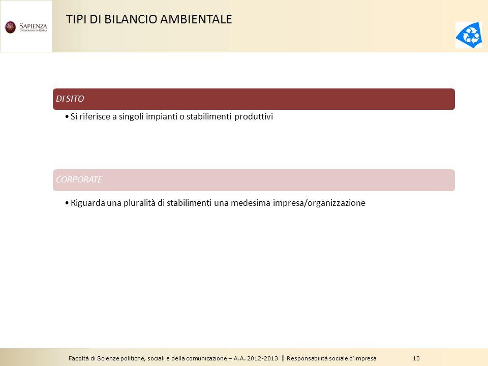 TIPI DI BILANCIO AMBIENTALE