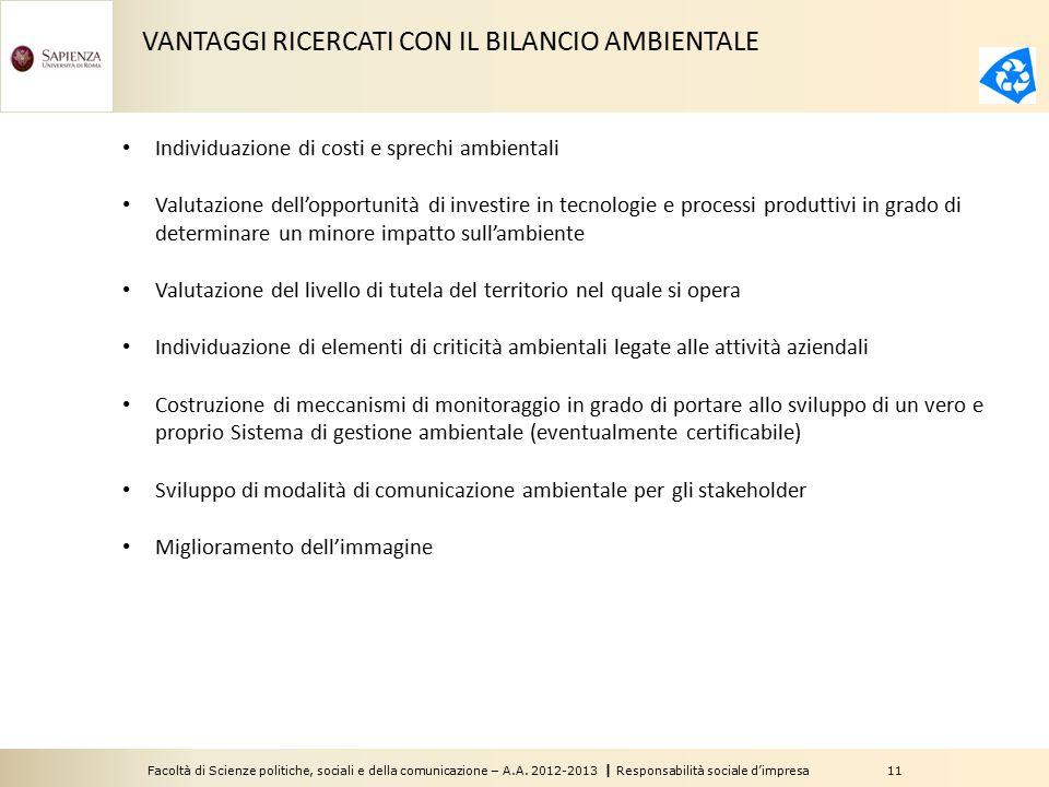 VANTAGGI RICERCATI CON IL BILANCIO AMBIENTALE
