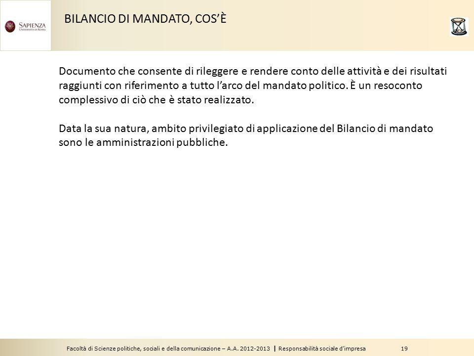 BILANCIO DI MANDATO, COS'È
