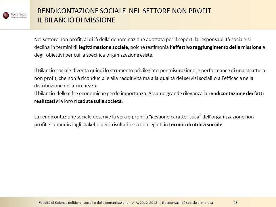 RENDICONTAZIONE SOCIALE NEL SETTORE NON PROFIT IL BILANCIO DI MISSIONE
