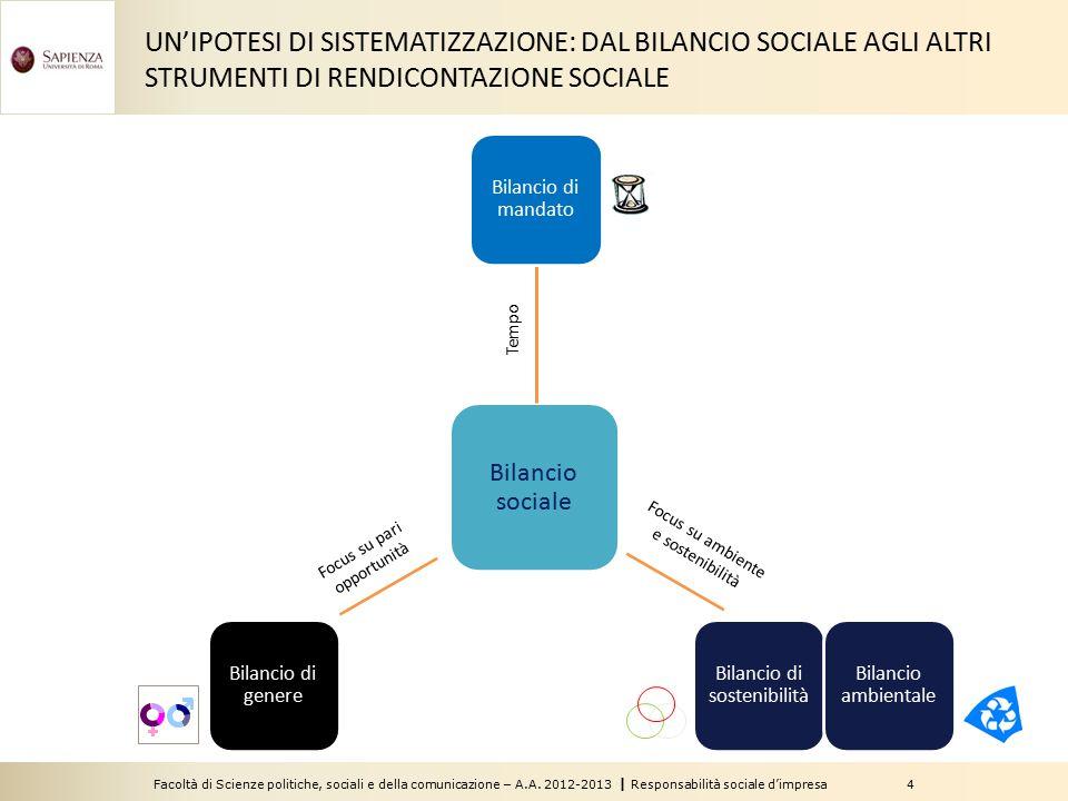 UN'IPOTESI DI SISTEMATIZZAZIONE: DAL BILANCIO SOCIALE AGLI ALTRI STRUMENTI DI RENDICONTAZIONE SOCIALE