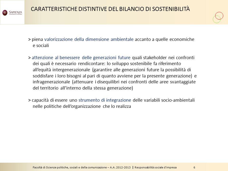 CARATTERISTICHE DISTINTIVE DEL BILANCIO DI SOSTENIBILITÀ