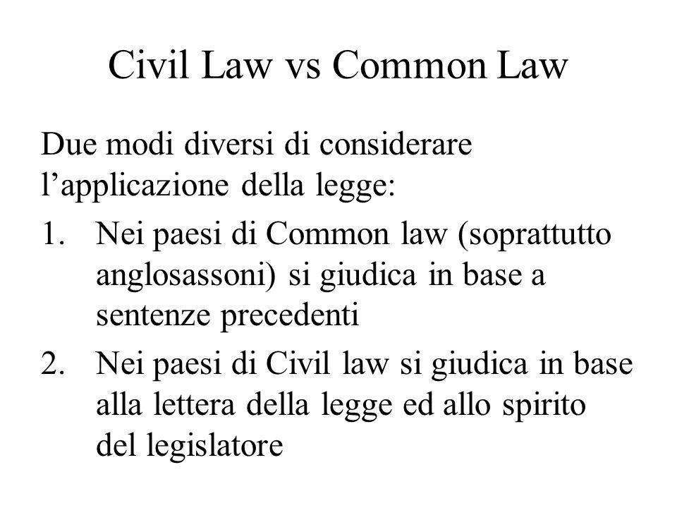 Civil Law vs Common Law Due modi diversi di considerare l'applicazione della legge: