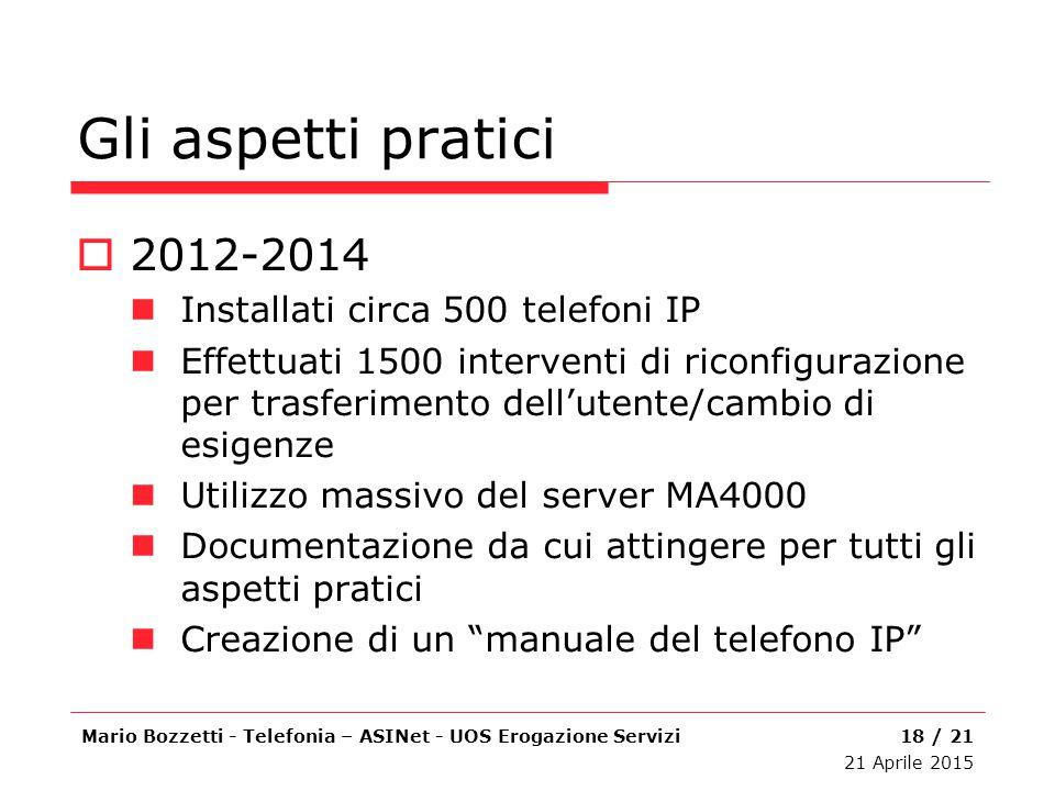 Gli aspetti pratici 2012-2014 Installati circa 500 telefoni IP