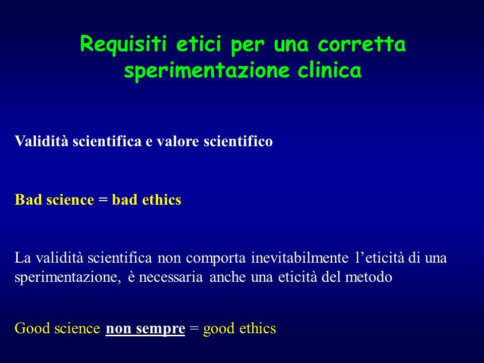 Requisiti etici per una corretta sperimentazione clinica