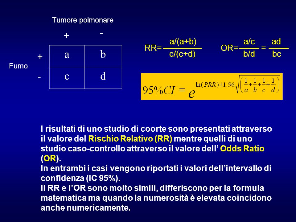 a b c d - + + - RR= a/(a+b) c/(c+d) OR= a/c b/d ad bc =