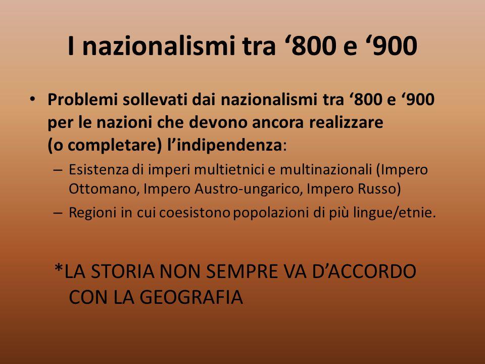 I nazionalismi tra '800 e '900