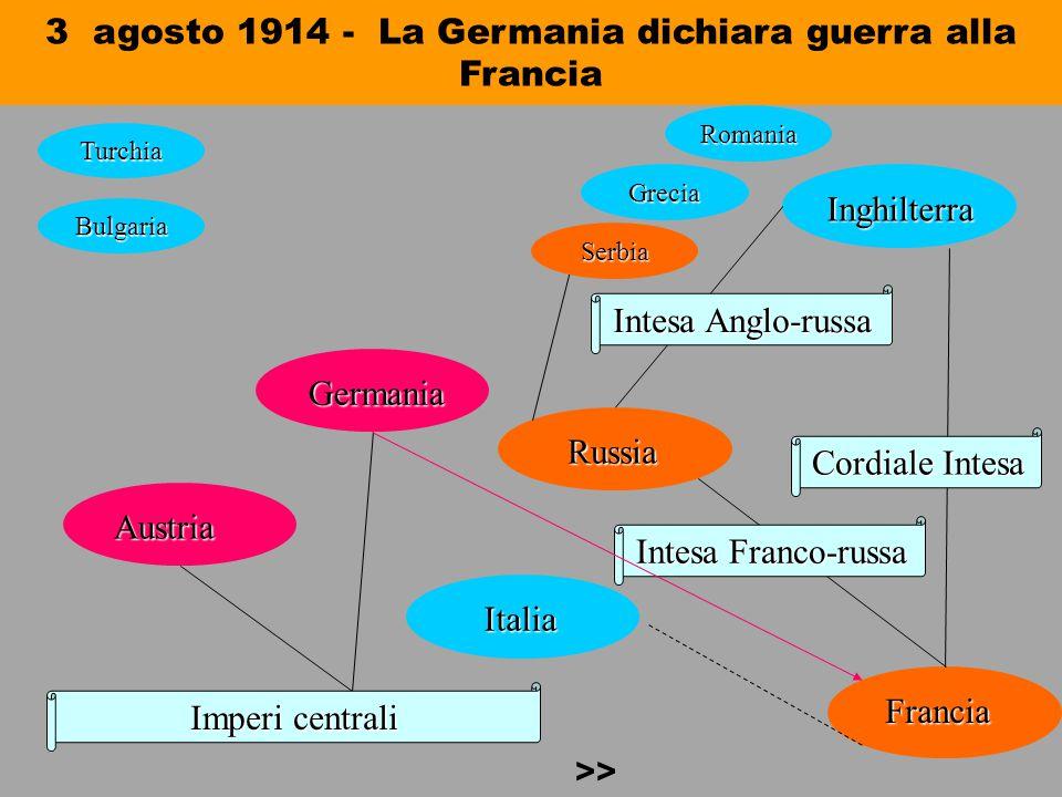 3 agosto 1914 - La Germania dichiara guerra alla Francia