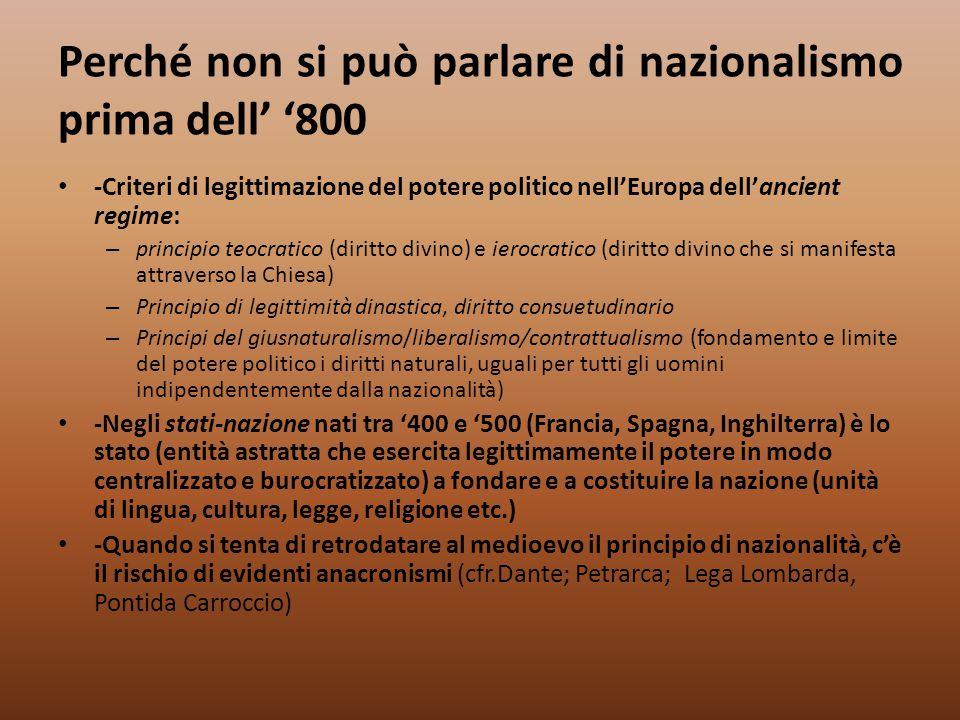 Perché non si può parlare di nazionalismo prima dell' '800