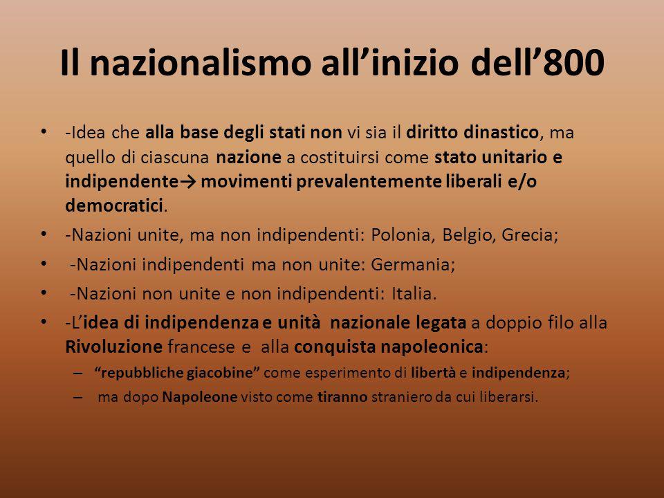 Il nazionalismo all'inizio dell'800