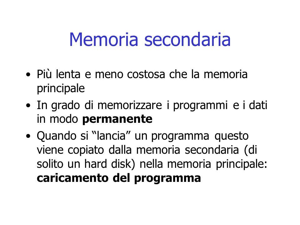Memoria secondaria Più lenta e meno costosa che la memoria principale