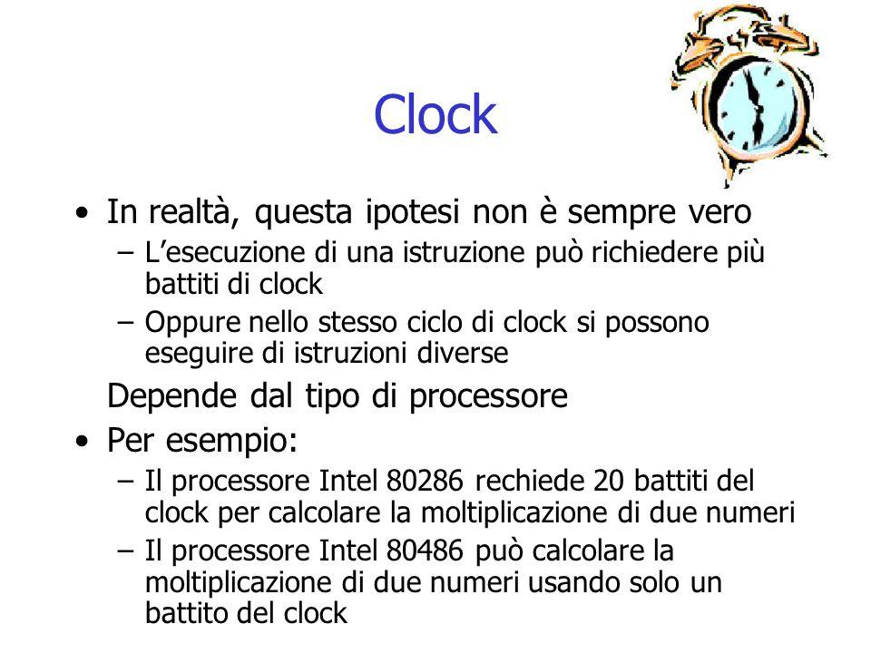 Clock In realtà, questa ipotesi non è sempre vero