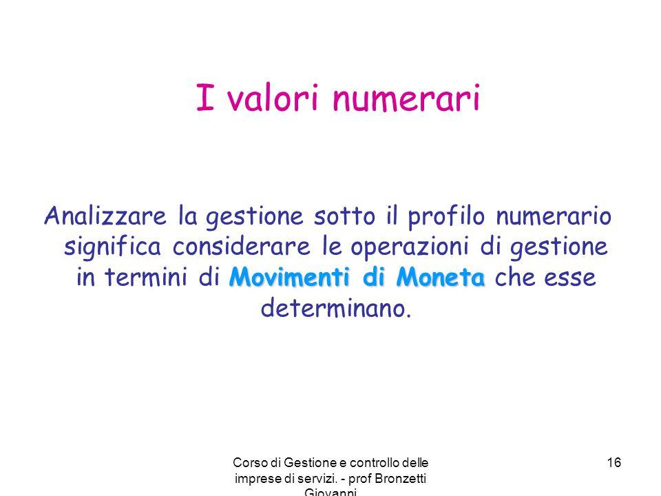 I valori numerari
