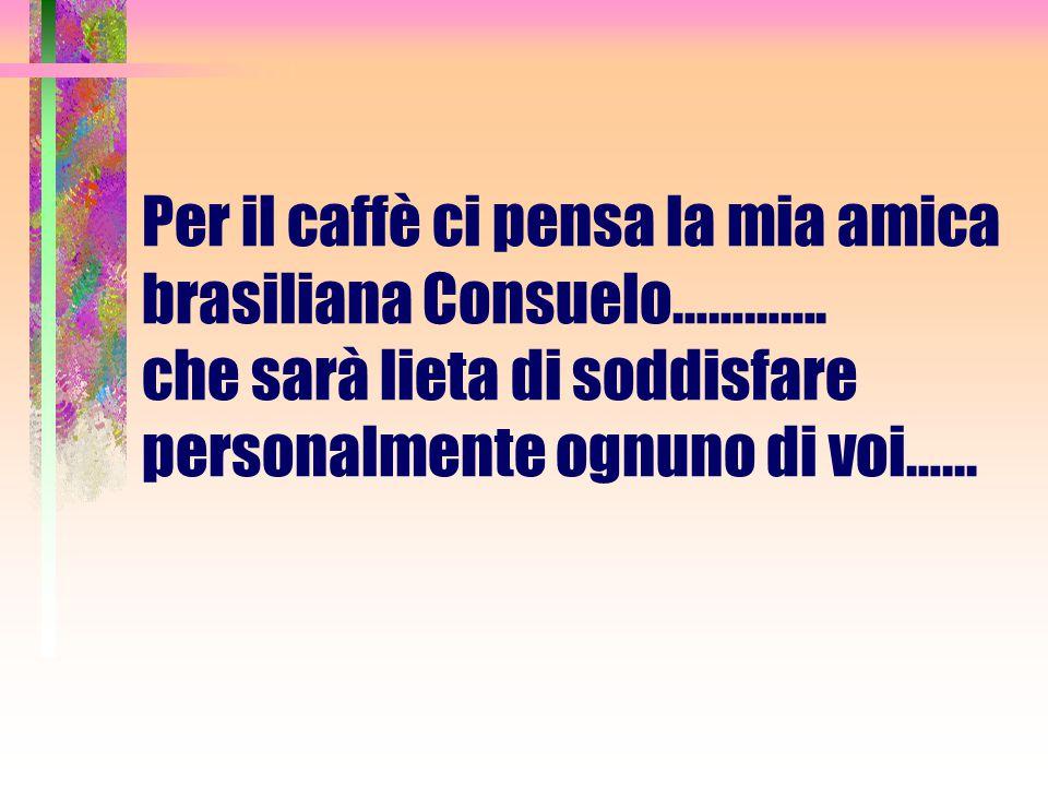 Per il caffè ci pensa la mia amica brasiliana Consuelo…………