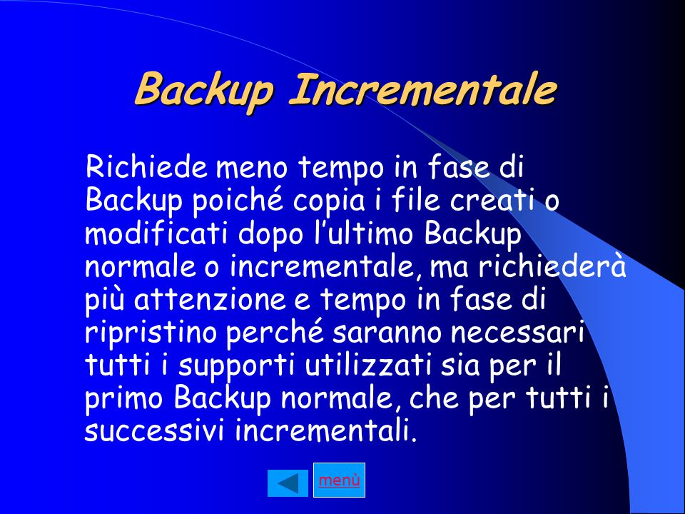 Backup Incrementale