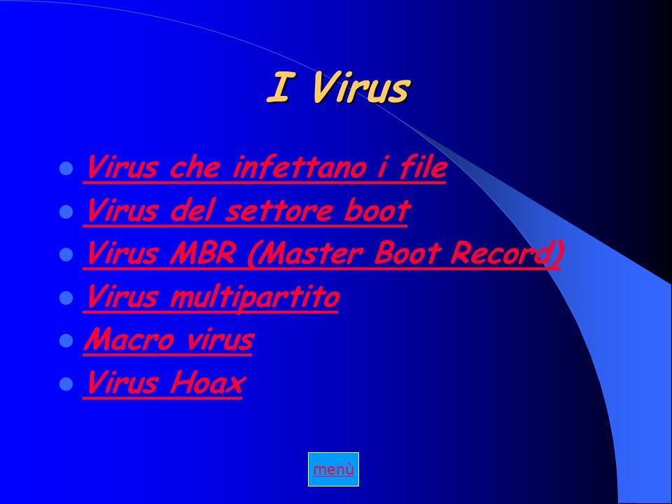 I Virus Virus che infettano i file Virus del settore boot