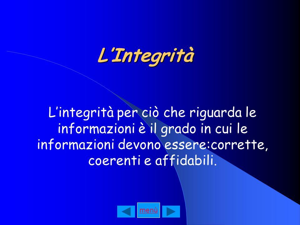 L'Integrità L'integrità per ciò che riguarda le informazioni è il grado in cui le informazioni devono essere:corrette, coerenti e affidabili.