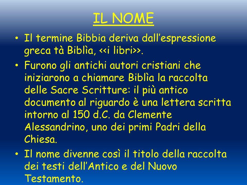 IL NOME Il termine Bibbia deriva dall'espressione greca tà Biblìa, <<i libri>>.