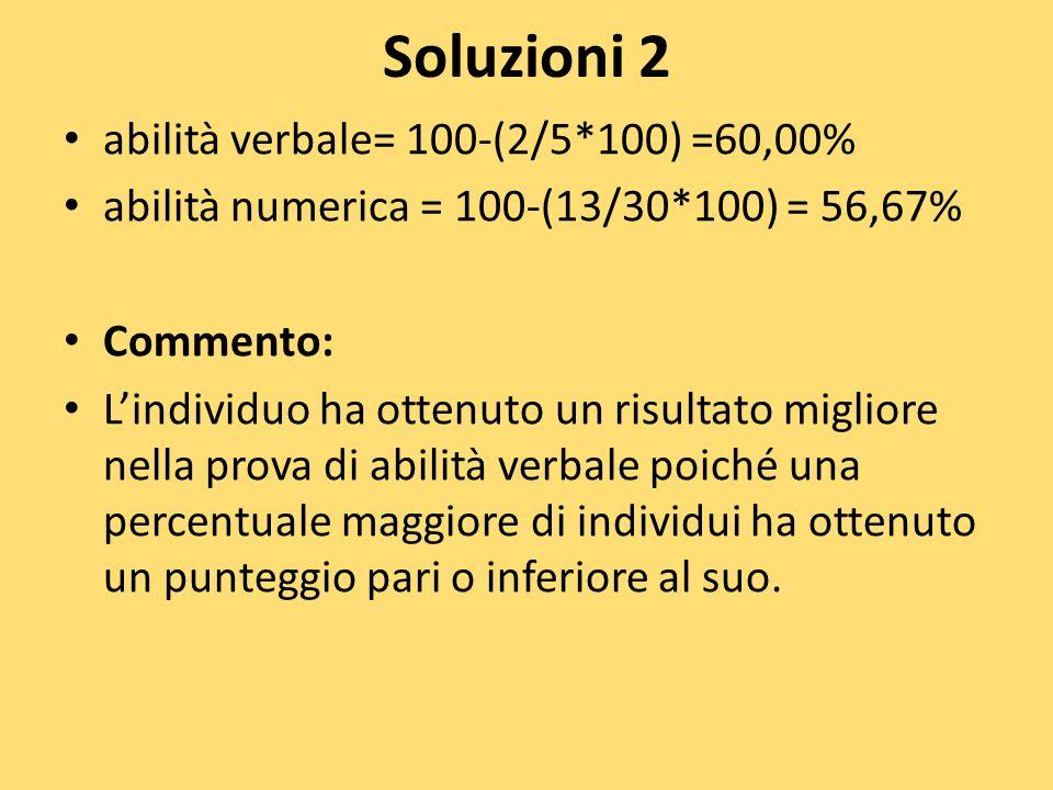 Soluzioni 2 abilità verbale= 100-(2/5*100) =60,00%