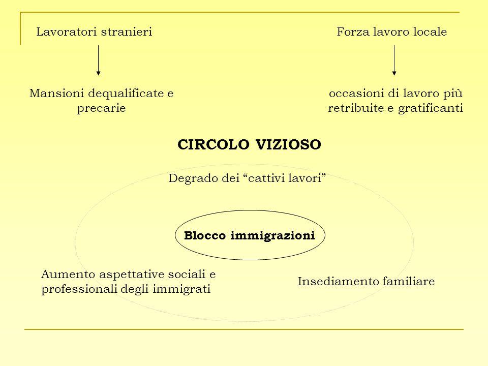 CIRCOLO VIZIOSO Lavoratori stranieri Mansioni dequalificate e precarie