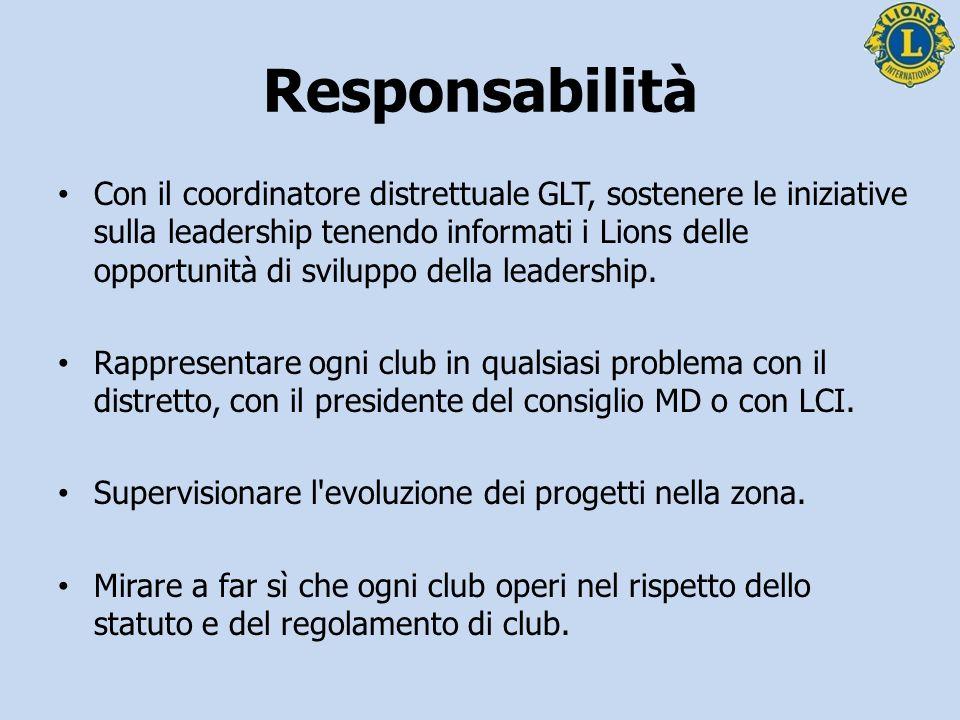 Responsabilità Promuovere la rappresentanza alle convention internazionali e ai congressi distrettuali.