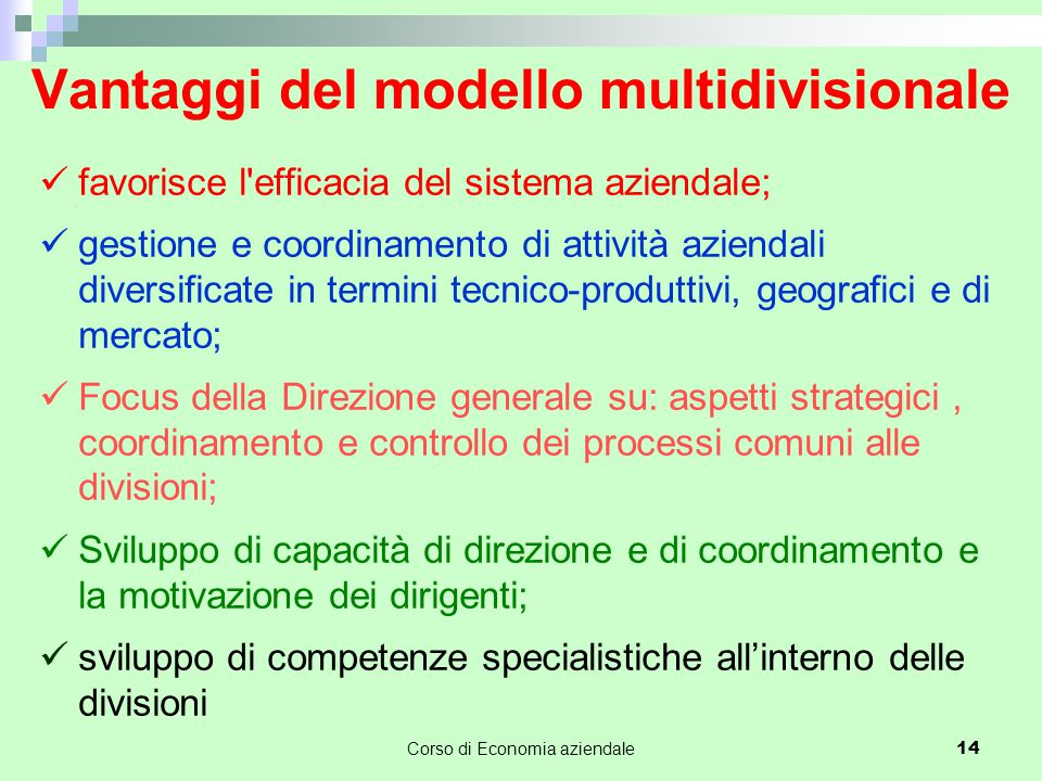 Vantaggi del modello multidivisionale