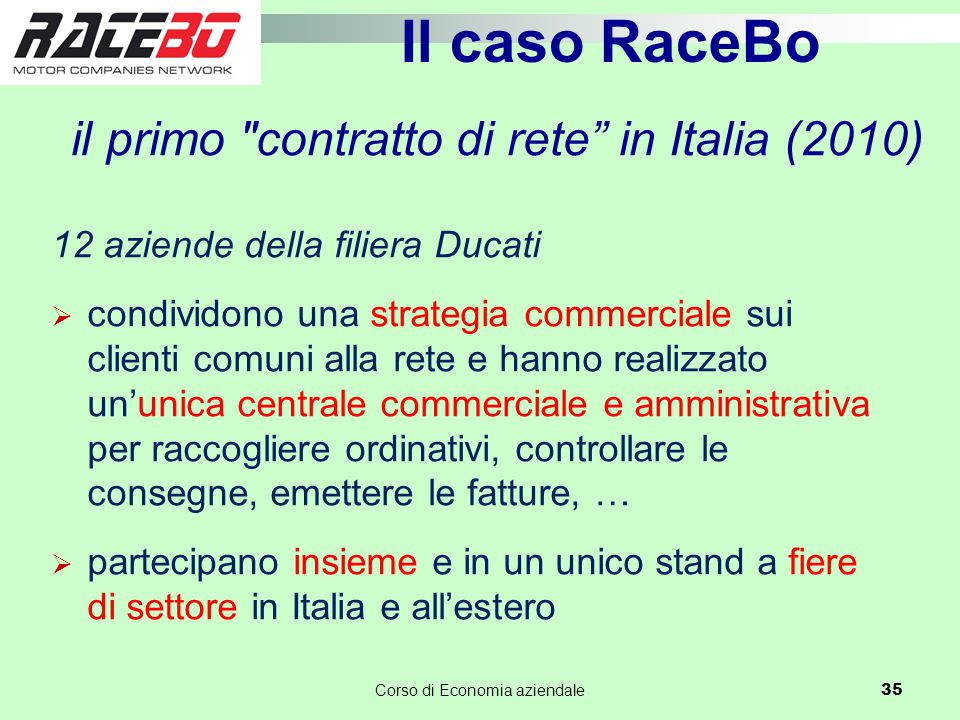 il primo contratto di rete in Italia (2010)