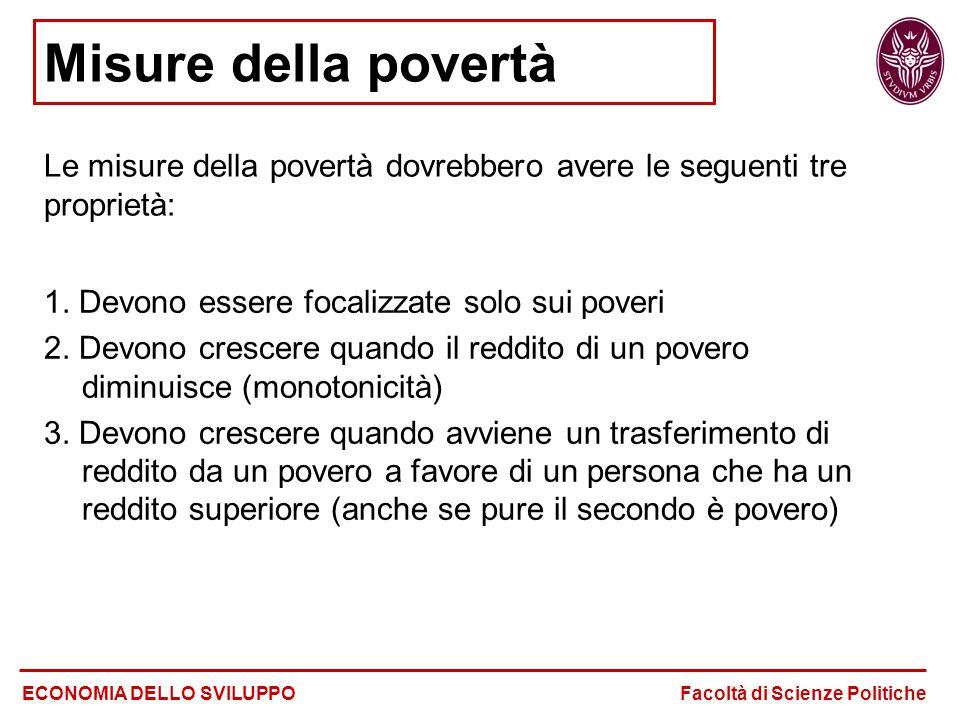 Le misure della povertà dovrebbero avere le seguenti tre proprietà: