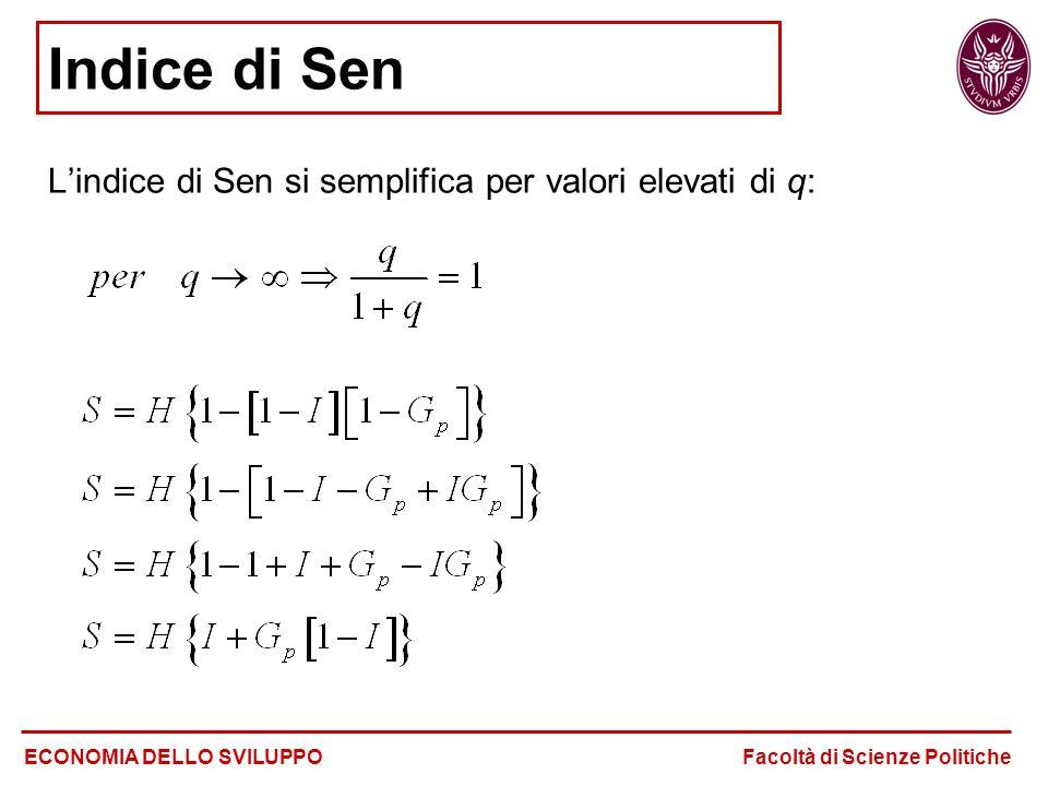 L'indice di Sen si semplifica per valori elevati di q: