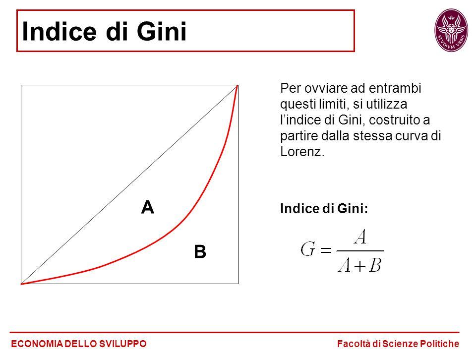 Indice di Gini Per ovviare ad entrambi questi limiti, si utilizza l'indice di Gini, costruito a partire dalla stessa curva di Lorenz.