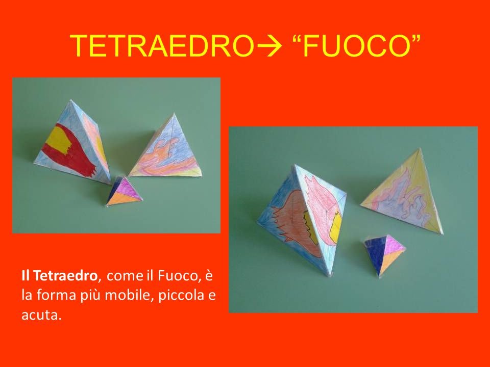 TETRAEDRO FUOCO Il Tetraedro, come il Fuoco, è la forma più mobile, piccola e acuta.