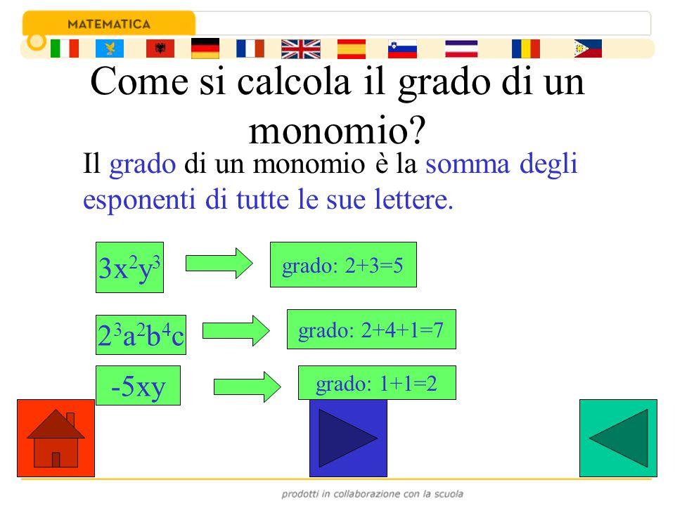 Come si calcola il grado di un monomio