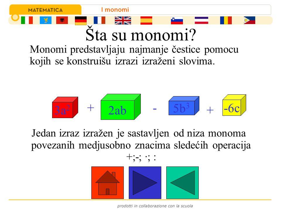Šta su monomi 2ab 3a2 5b3 -6c + - +