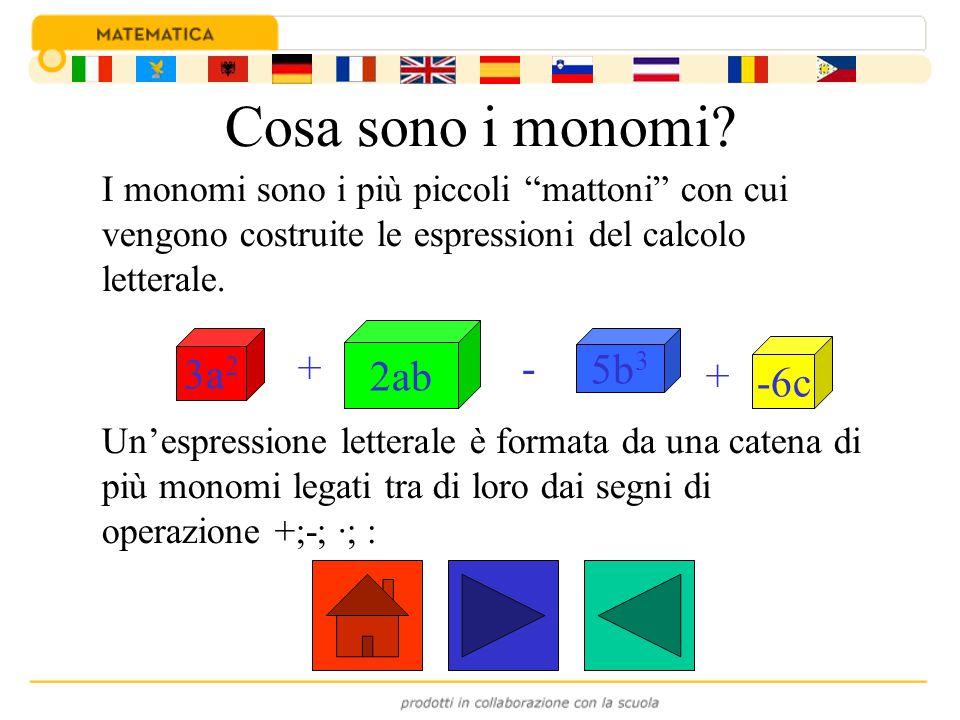Cosa sono i monomi 2ab 3a2 5b3 + - -6c +