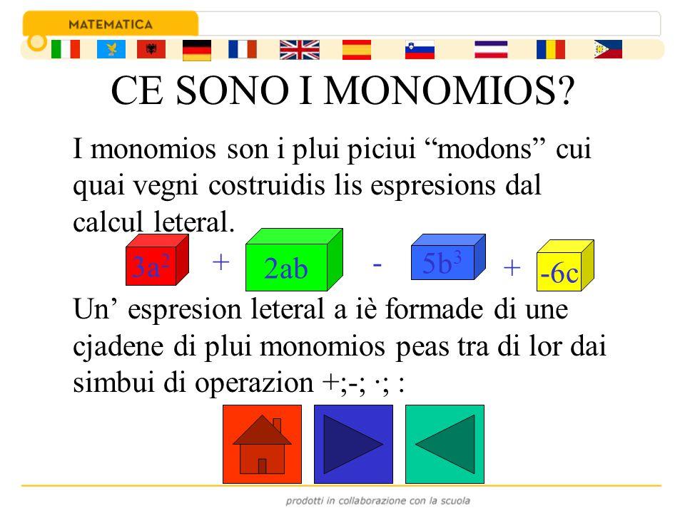CE SONO I MONOMIOS I monomios son i plui piciui modons cui quai vegni costruidis lis espresions dal calcul leteral.