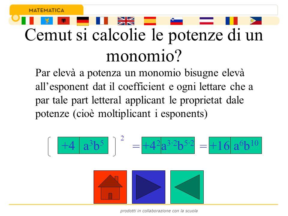 Cemut si calcolie le potenze di un monomio