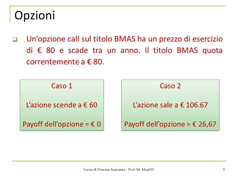 Opzioni Un'opzione call sul titolo BMAS ha un prezzo di esercizio di € 80 e scade tra un anno. Il titolo BMAS quota correntemente a € 80.