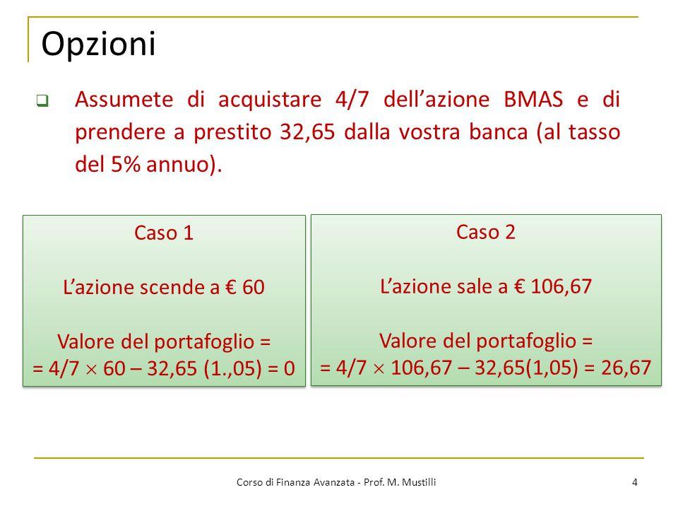 Opzioni Assumete di acquistare 4/7 dell'azione BMAS e di prendere a prestito 32,65 dalla vostra banca (al tasso del 5% annuo).